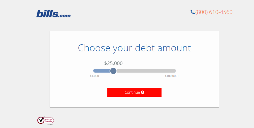 bills payments landing page example