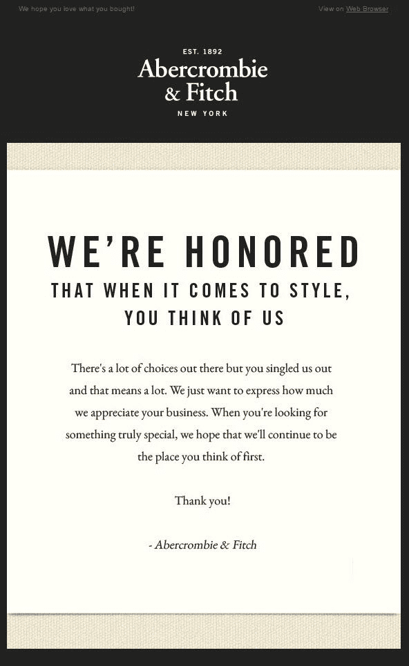 Abercrombie & Fitch email marketing example
