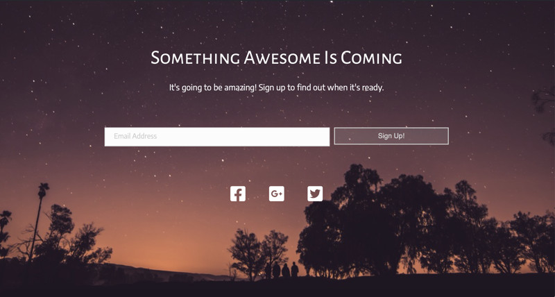 Coming Soon Page example