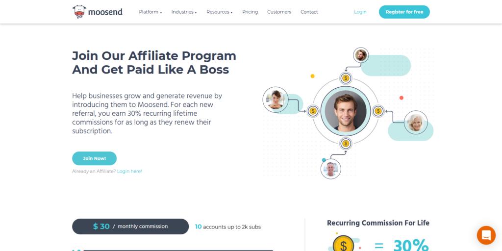 Moosend affiliate program