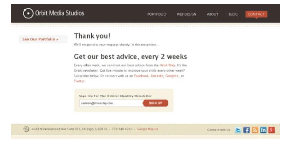 Thank You Landing Page example