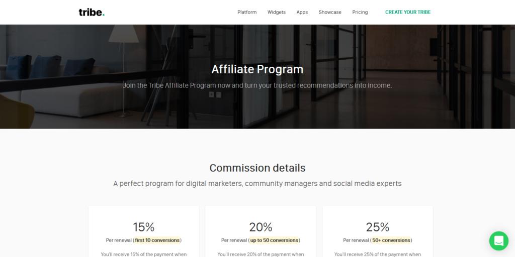 Tribe affiliate program