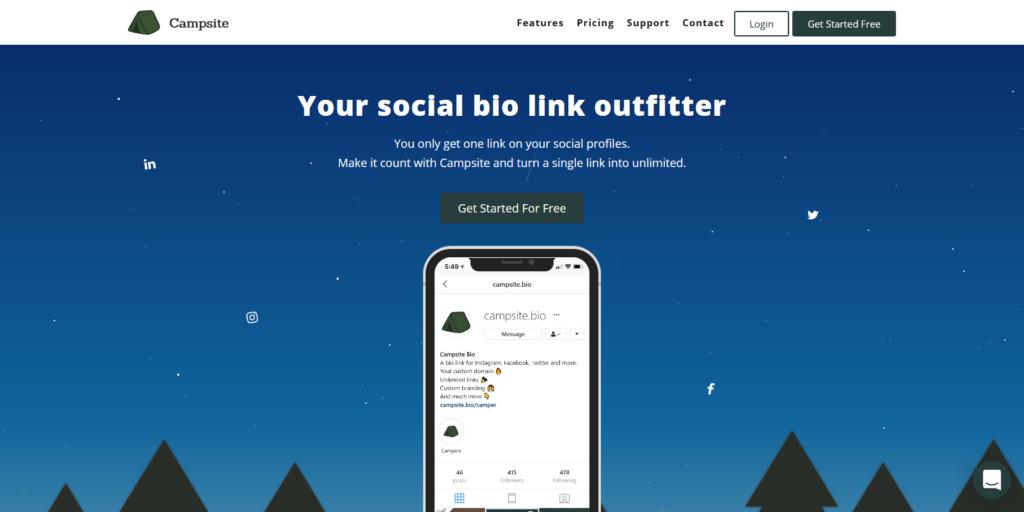 campsite bio link tool