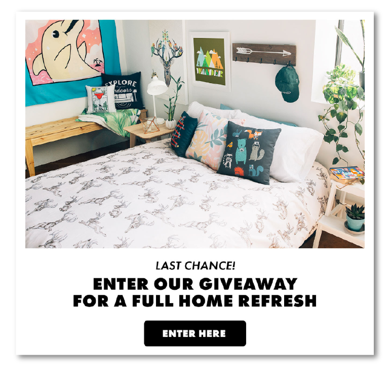 enter giveaway email marketing example