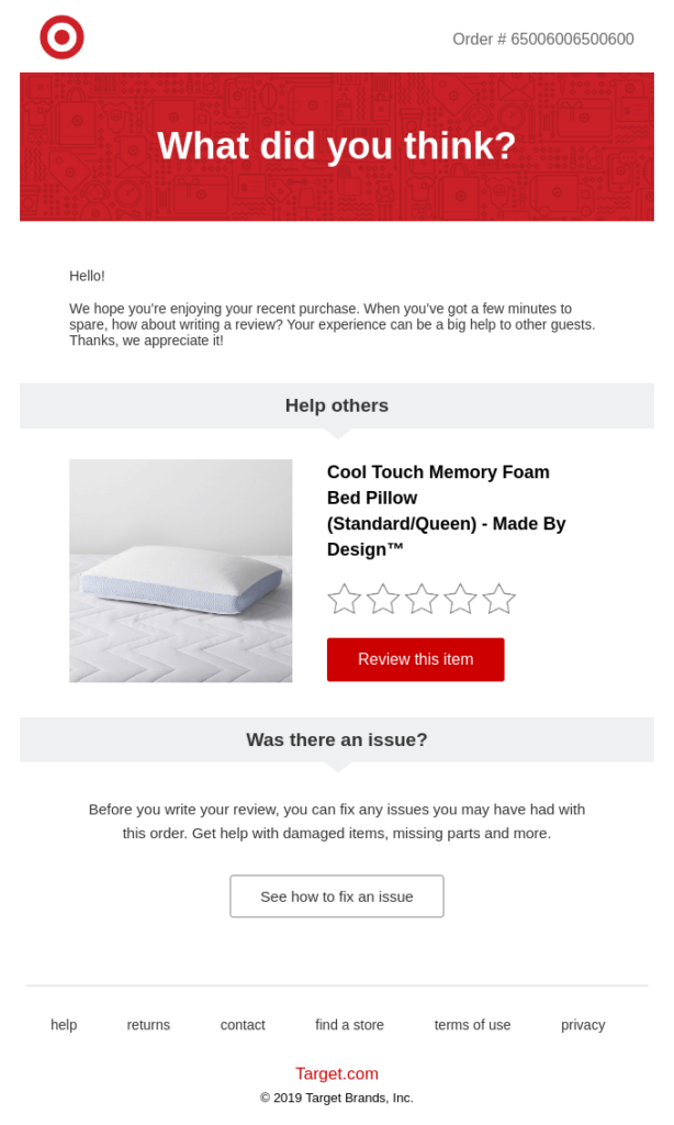 feedback email example