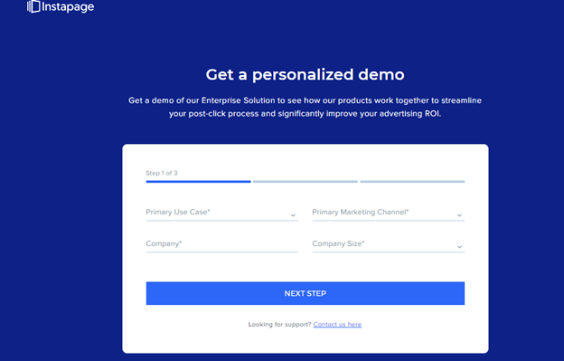 instapage landing page example