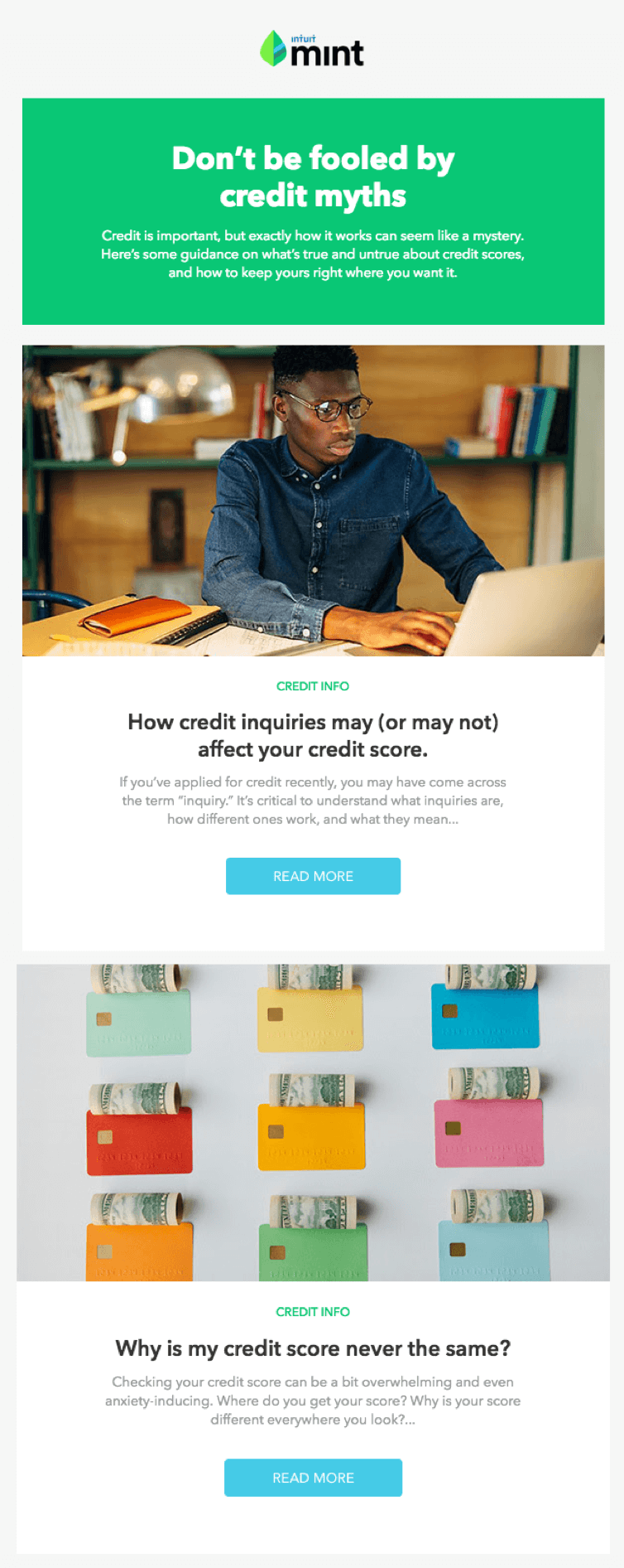 min email marketing example