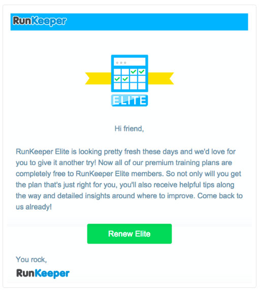 runkeeper email marketing example