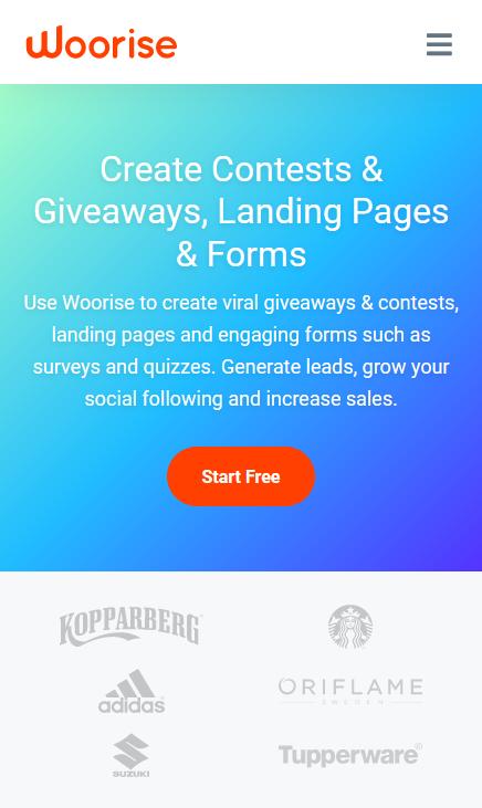 woorise responsive landing page