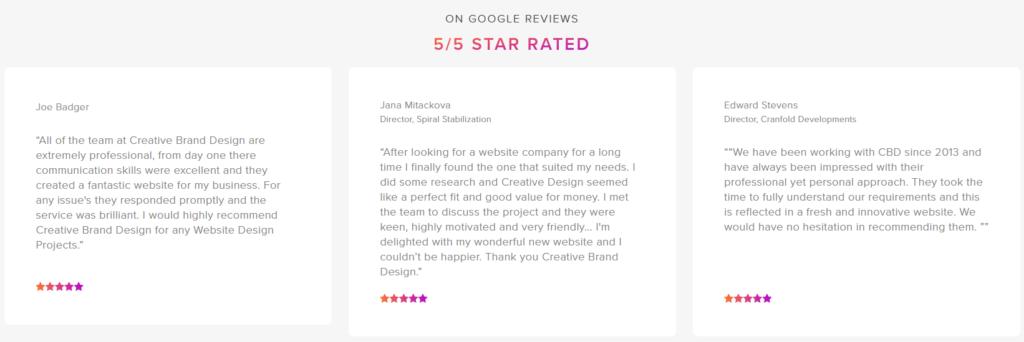 cb website design testimonials