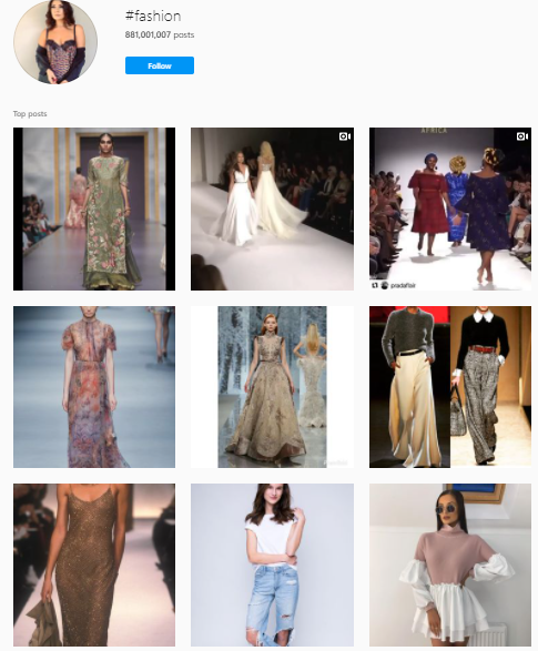 fashion instagram hashtags example