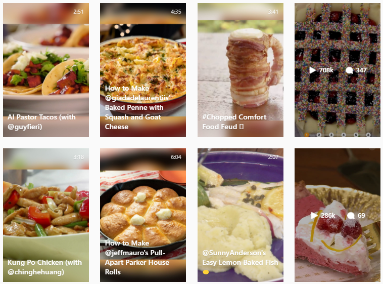 food instagram feed theme example