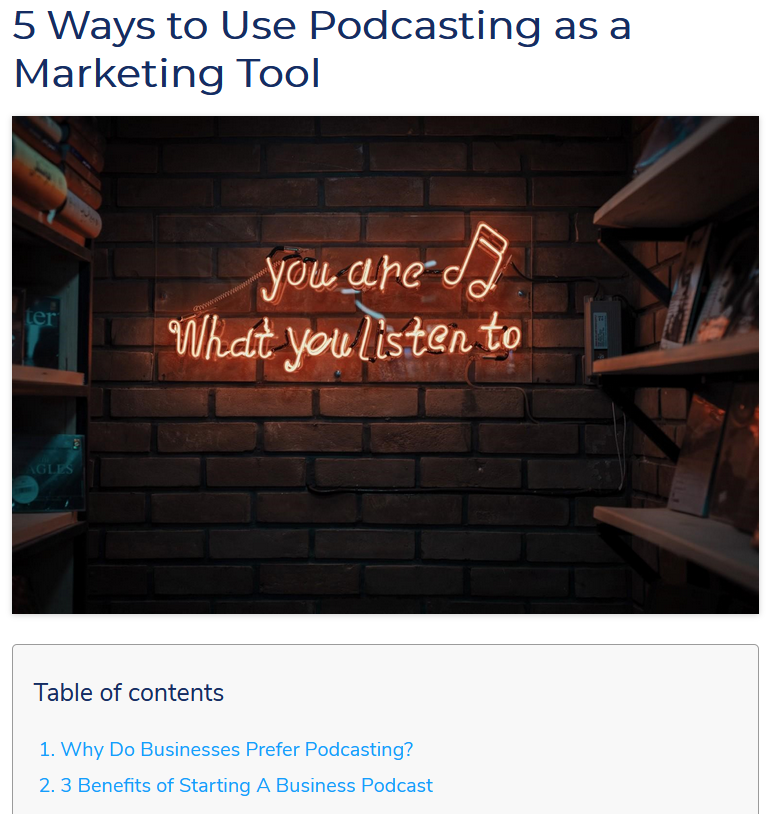 podcastng as a marketing tool