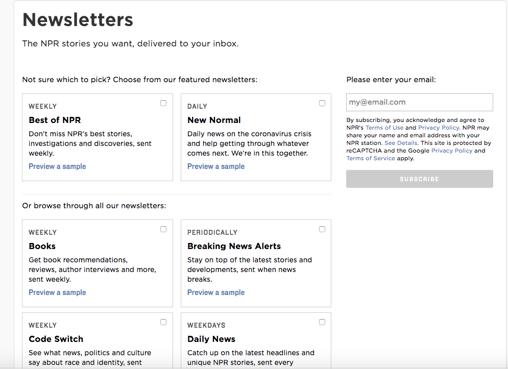 newsletters form example