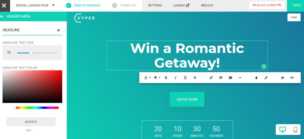 vyper giveaway app dashboard