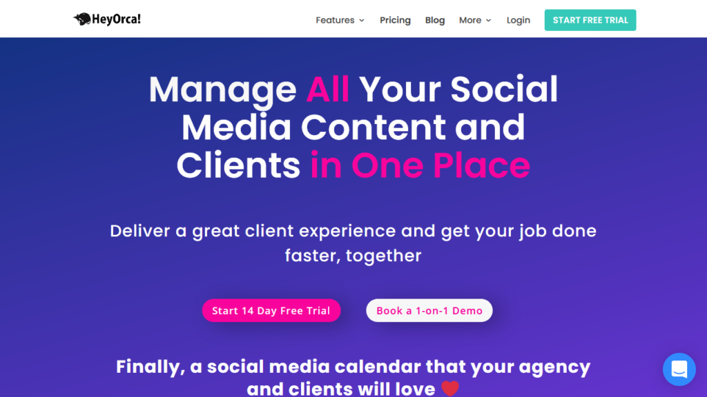 HeyOrca Social Media Calendar and Client Collaboration For Agencies