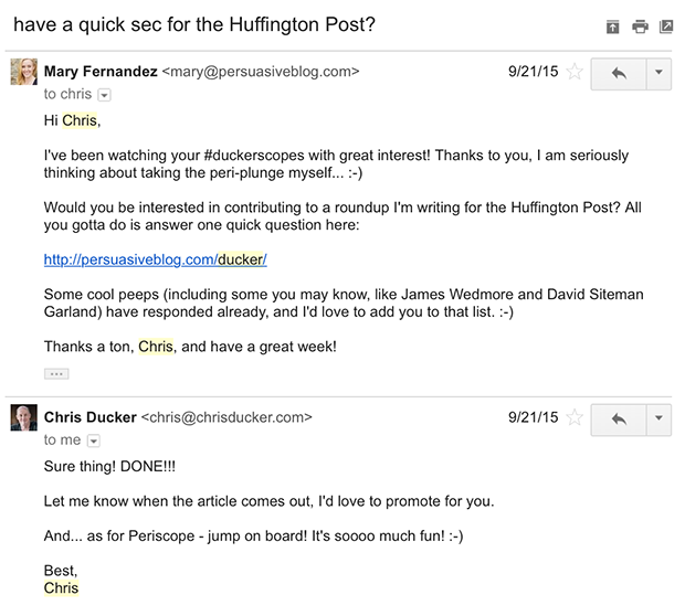 Name Dropping email outreach example