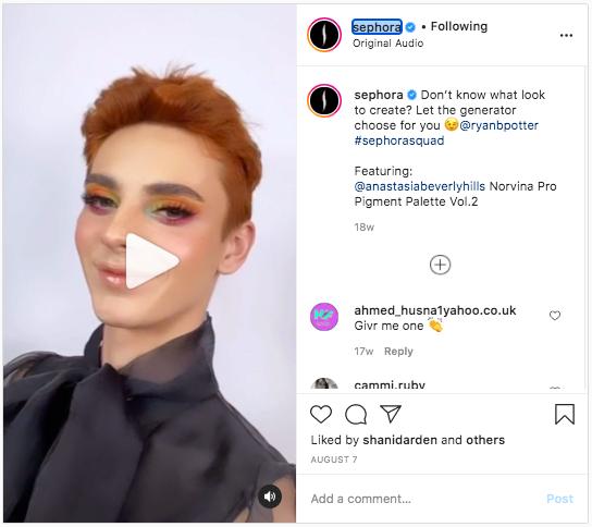 Sephora instagram reels example