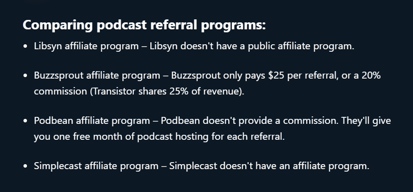 comparing podcast referral programs
