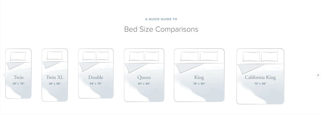 Au Lit Fine Linens bed size comparisons chart