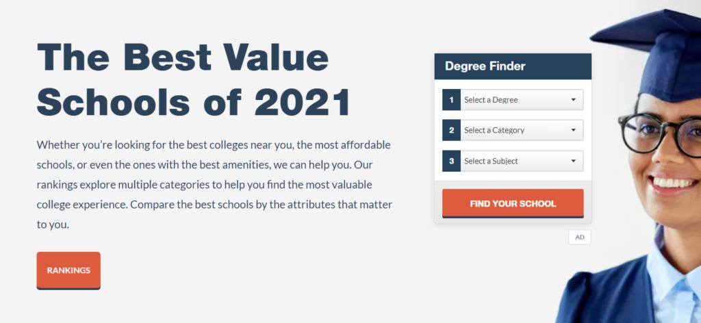 Best Value Schools clean landing page design example