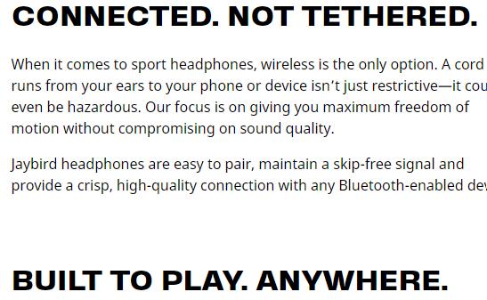 Jaybird Headphones landing page