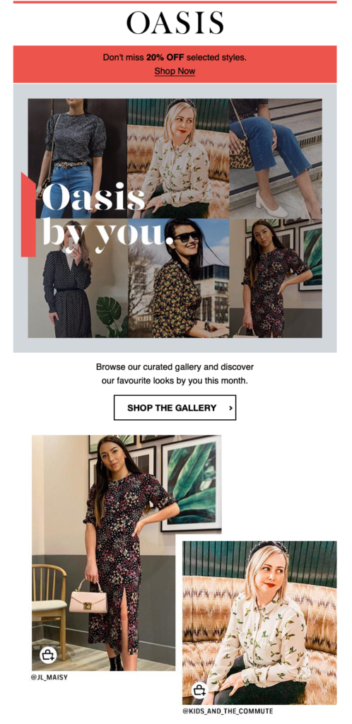 Oasis email newsletter instagram fans