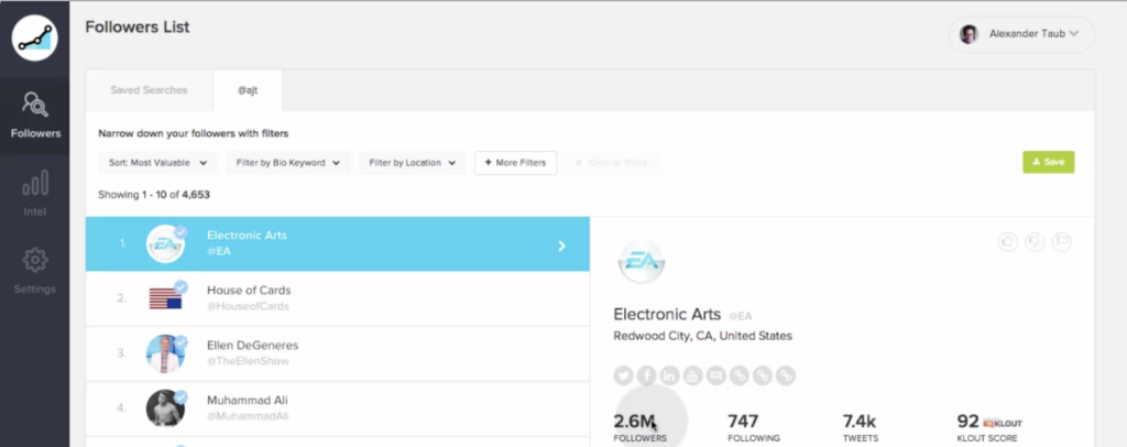 SocialRank instagram followers list dashboard