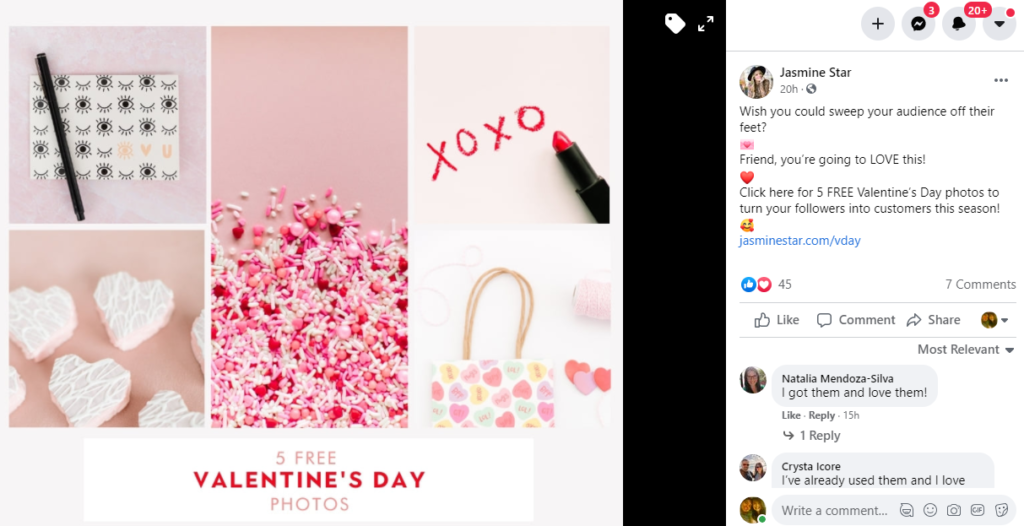 Valentine Day promotion landing page example