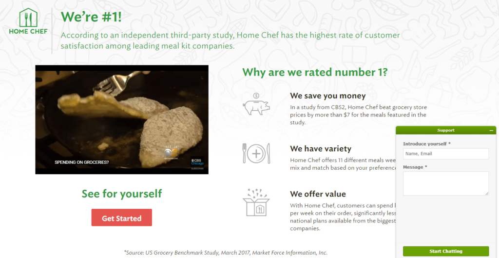 home chef landing page live chat example