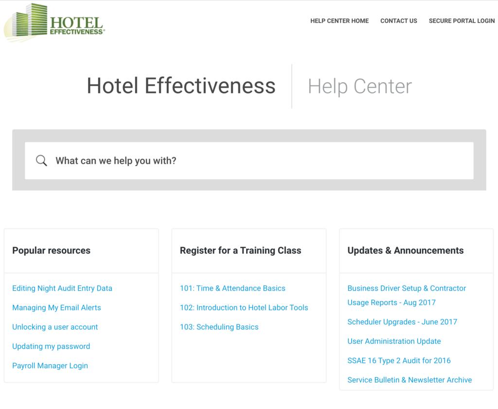 hotel knowledge base example
