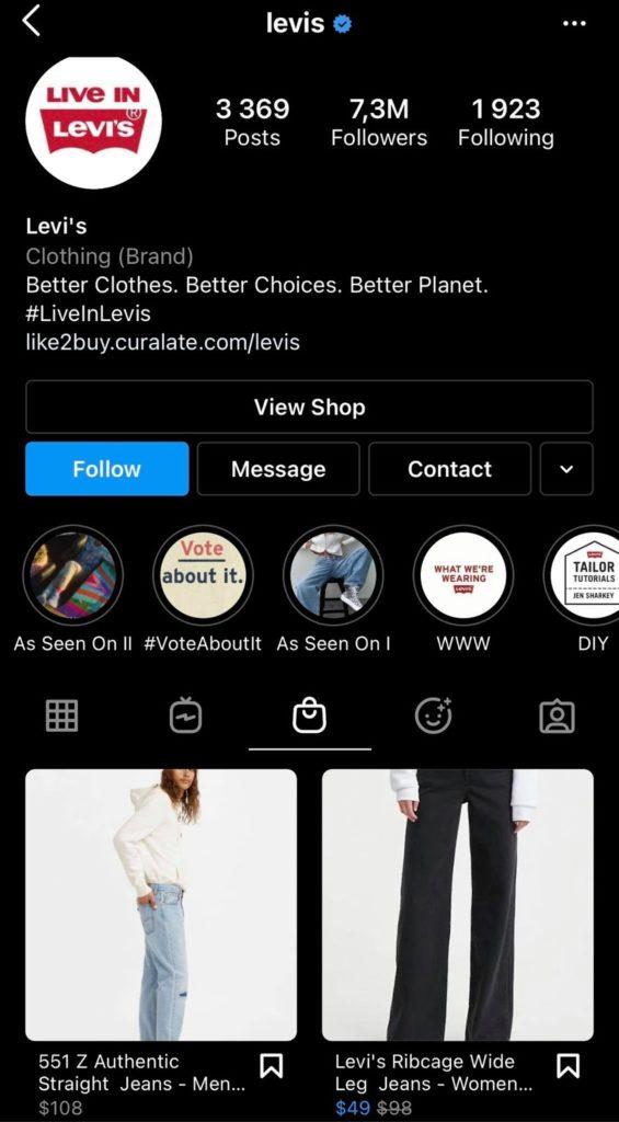 levis instagram view shop cta
