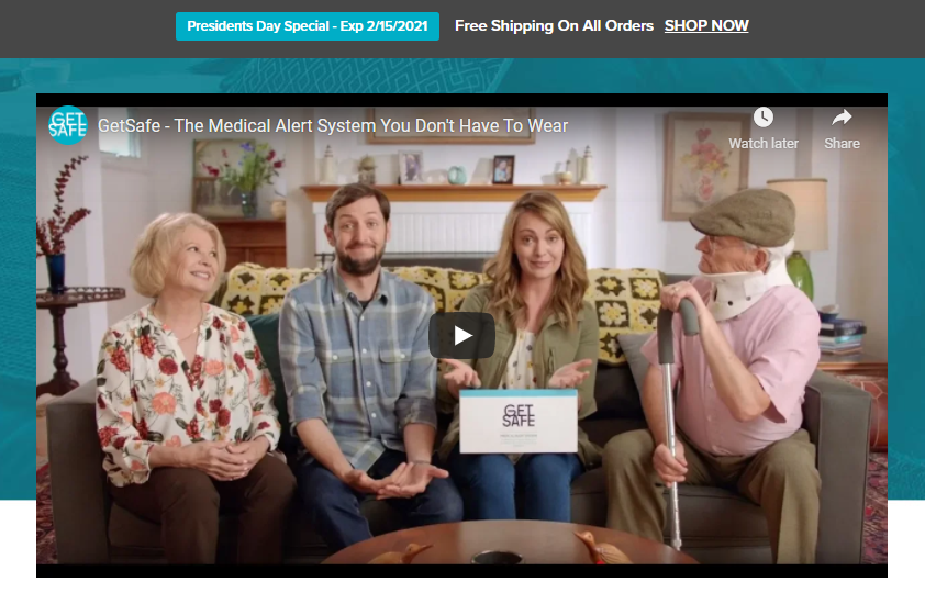 medical alert system company video landing page example