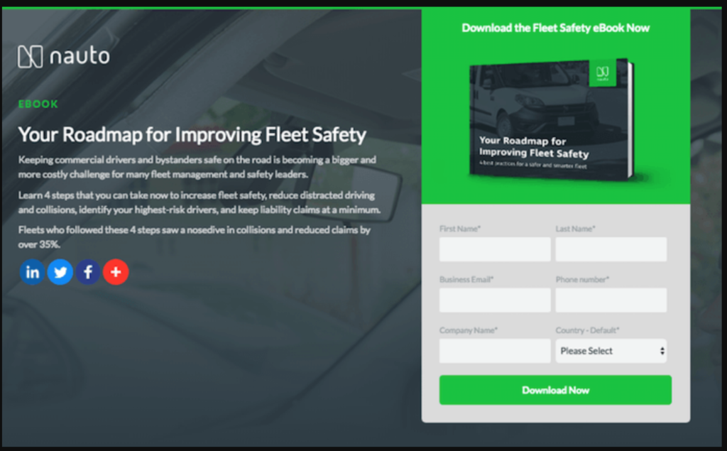 nauto landing page example without navigation