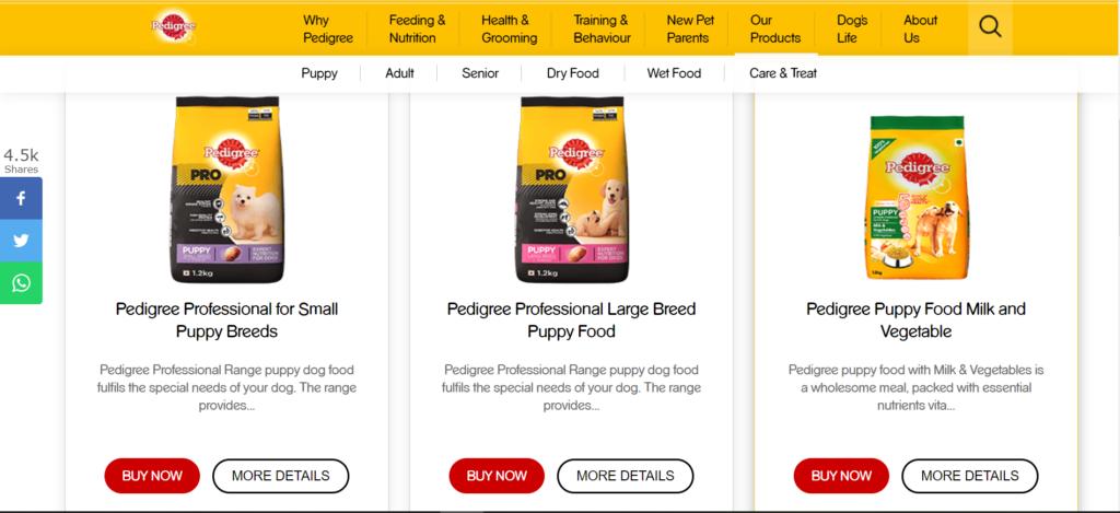 pedigree dog food products landing page