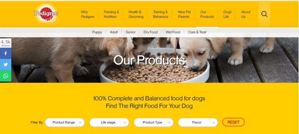 pedigree products landing page