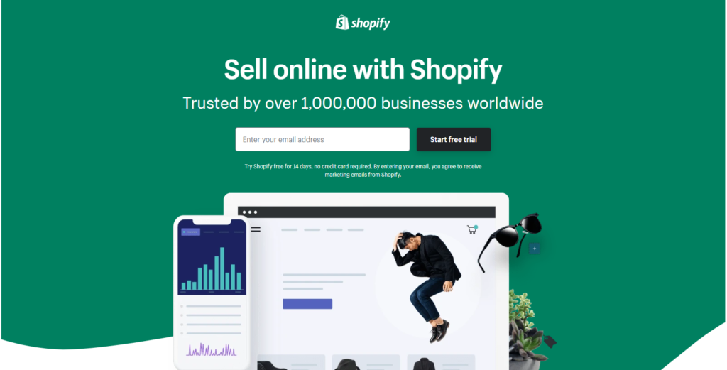 shopify landing page with images and video