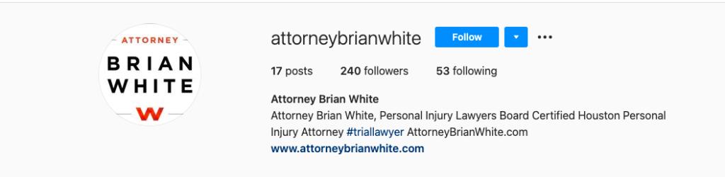 Attorney Brian White Associates instagram account