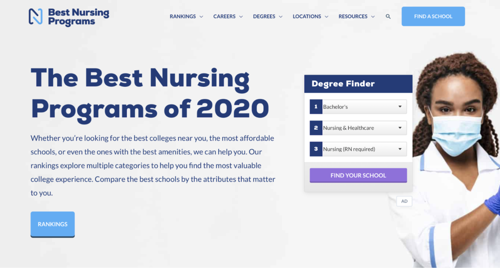 Best Nursing Programs landing page example