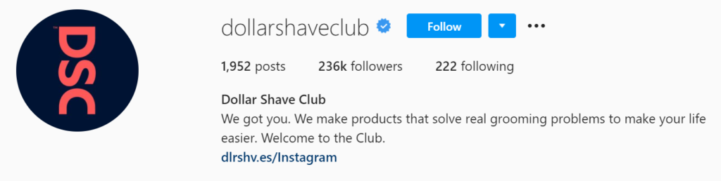 Dollar Shave Clubs Instagram page