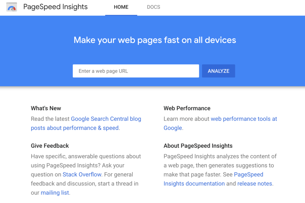 Google pagespeed insights responsive landing page