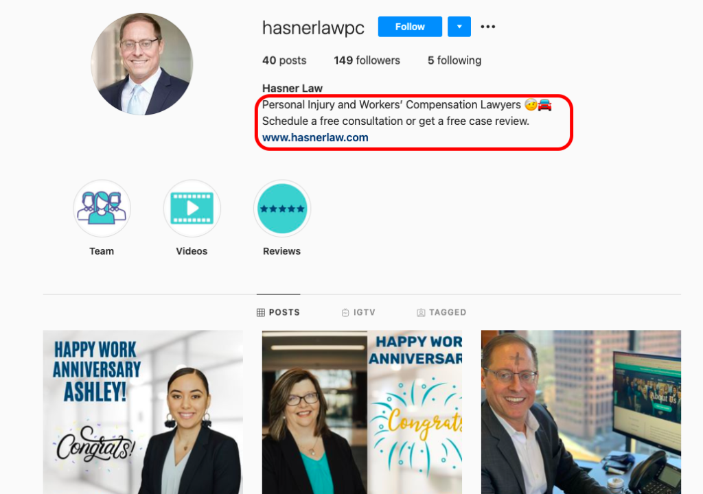 Hasner Law PC instagram bio