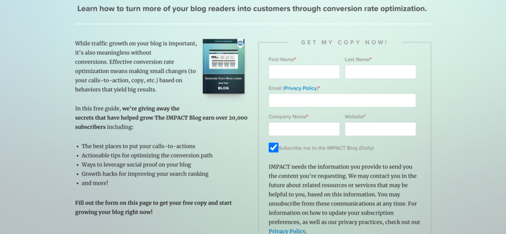 IMPACT landing page text example