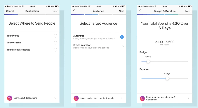 Instagram Ads Target Audience steps
