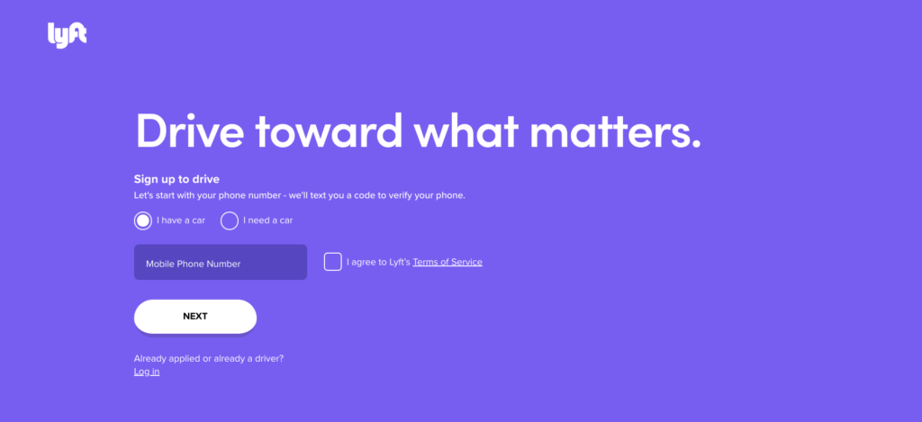 Lyft landing page form example
