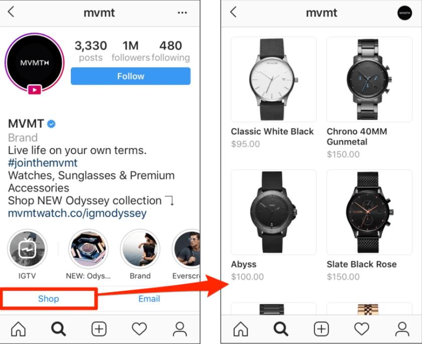 MVMT instagram shop