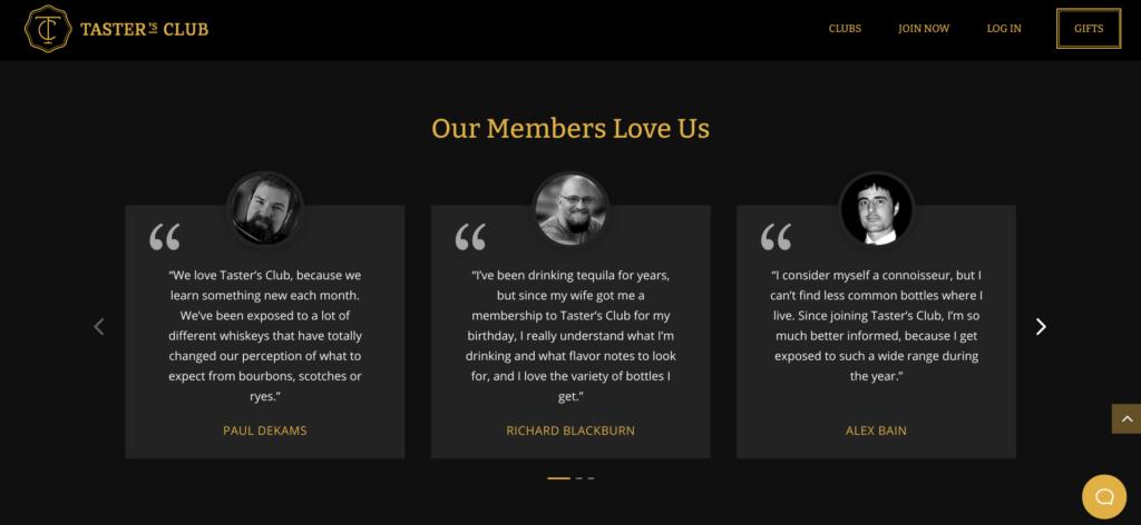 Tasters Club landing page testimonials