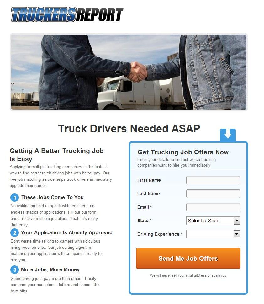 TruckersReport landing page example