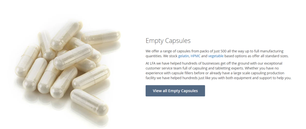 empty capsules landing page example