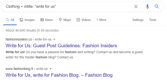 google search results clothing